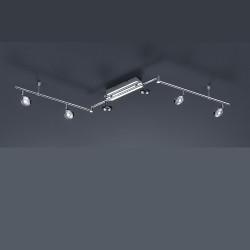 Grand plafonnier design Flat 6L à bras articulés chrome