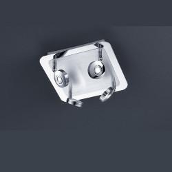 Plafonnier carré design Flat 4L Chrome et Alu brossé