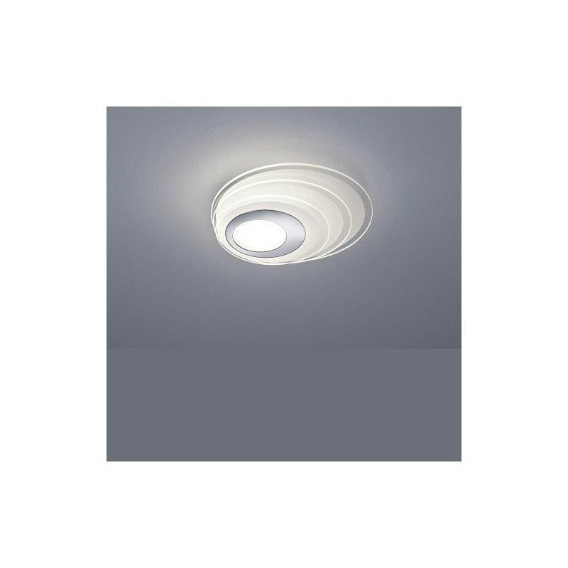 Plafonnier design Eclipse en chrome et verre