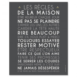 Poster à encadrer Les Règles de la Maison - Gris - 40-50 cm