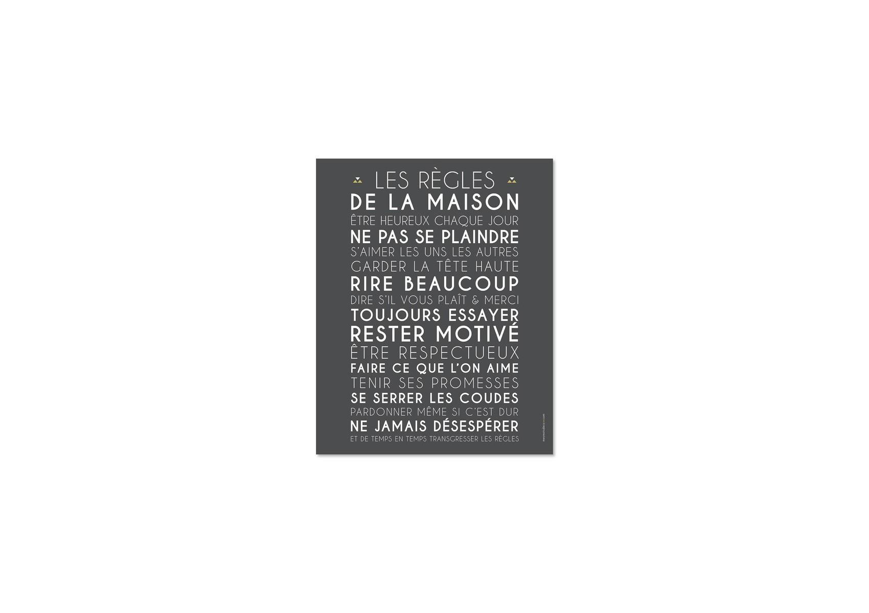 Poster encadrer les r gles de la maison gris 40 50 cm - Cadre les regles de la maison ...