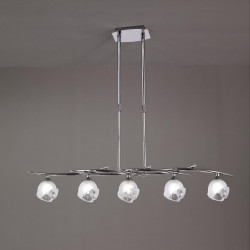 Suspension téléscopique design BALI CROMO 5L - ampoule G9 osram - mantra