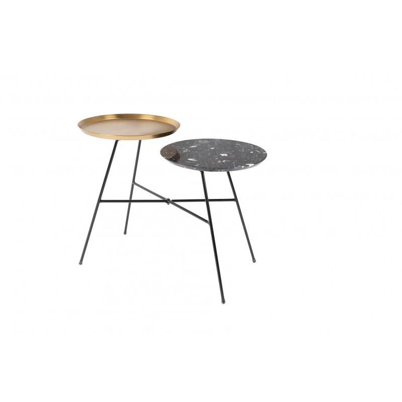 Table d'appoint design Indy or et noire