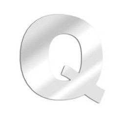 Miroir design lettre Q de l'alphabet en acrylique