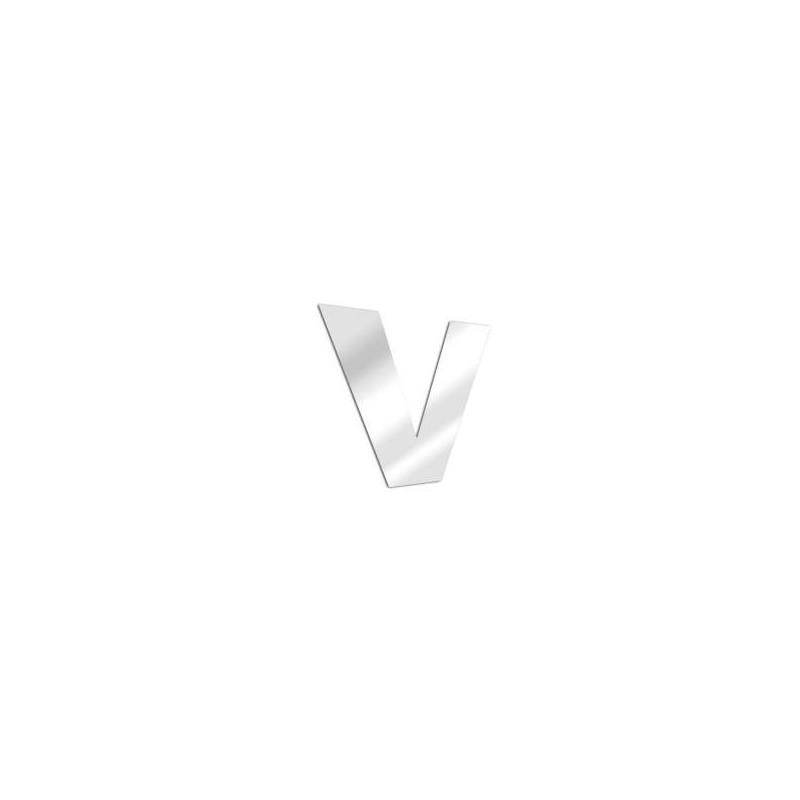 Miroir design lettre V de l'alphabet en acrylique