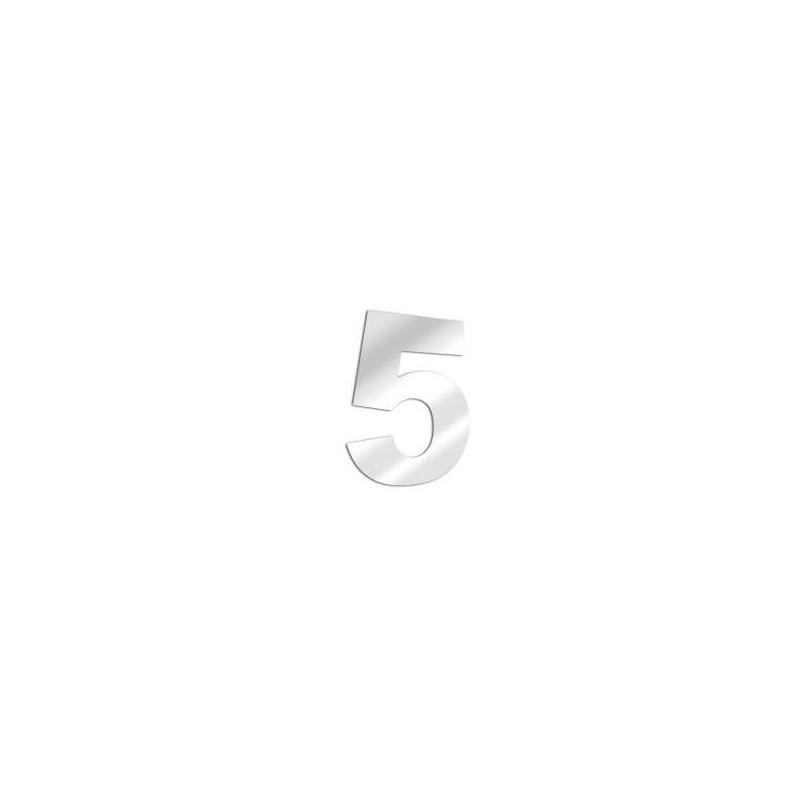 Miroir design chiffre 5 en acrylique