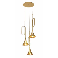 Suspension Jazz trois lampes or Mantra