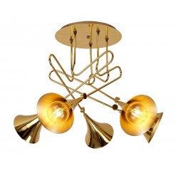 Semi plafonnier Jazz Or vintage en cinq lampes
