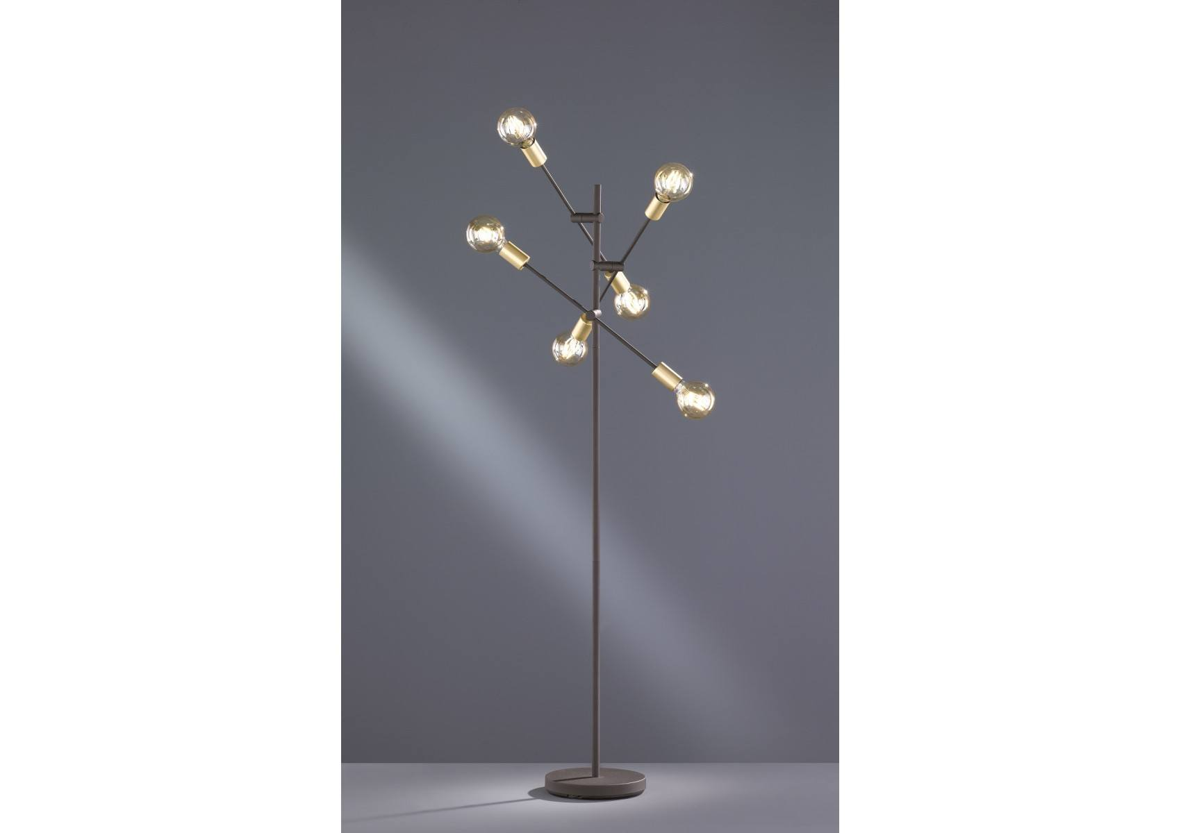 lampadaire cross noir mat et or avec six ampoules. Black Bedroom Furniture Sets. Home Design Ideas