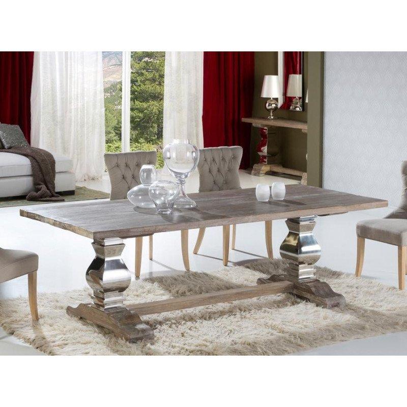 Table design de salle à manger en bois ancien massif - ANTICA - 240 cm deco schuller