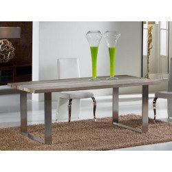 Table design de salle à manger en bois ancien et acier mate - PIRENA - deco schuller