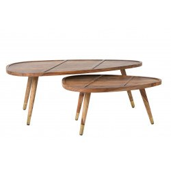 Lot de 2 Tables basses en bois Sham - Dutchbone