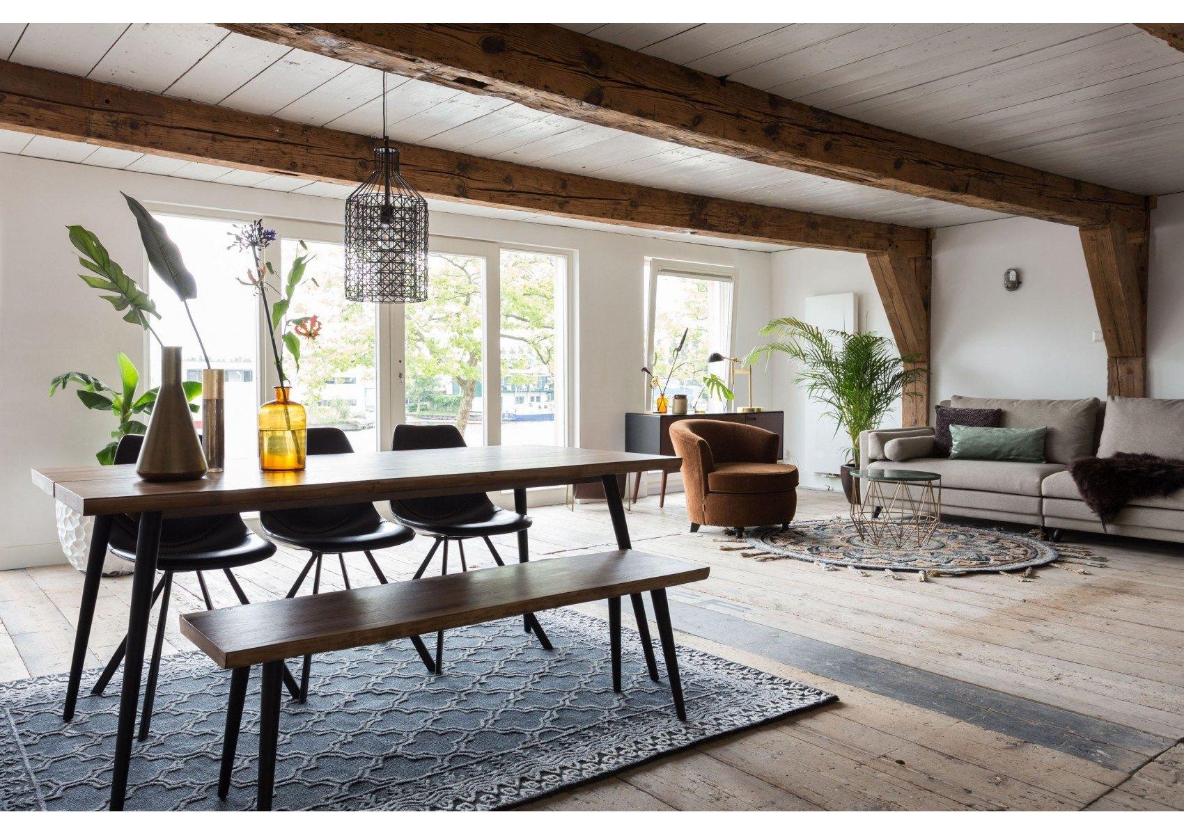 banc en bois et m tal alagon industriel 140x40 cm dutchbone. Black Bedroom Furniture Sets. Home Design Ideas