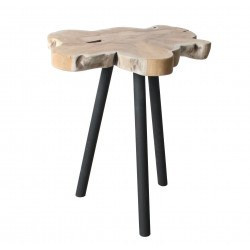 Table d'appoint teck et metal Treetop Zuiver