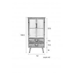 Vitrine industrielle bois et métal Diaman Low - Boite à design
