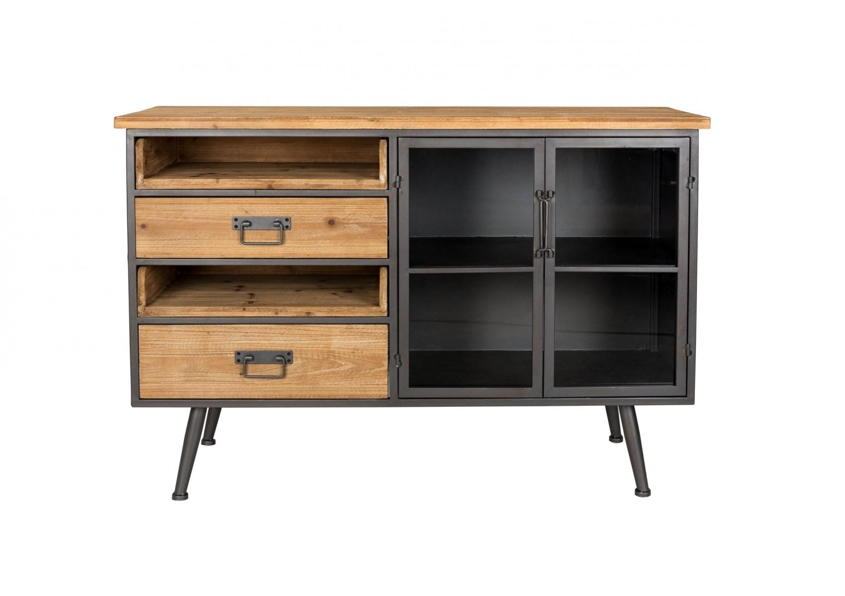buffet style industriel bois et m tal damian boite design. Black Bedroom Furniture Sets. Home Design Ideas