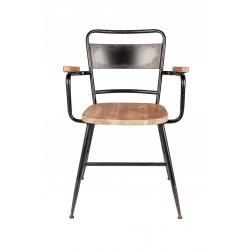 Chaise industrielle bois et métal avec accoudoirs GENE - Boite à design