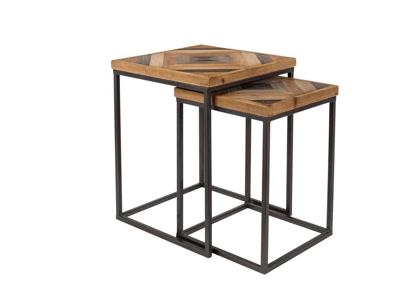 table basse gigogne industrielle bois et m tal joy boite. Black Bedroom Furniture Sets. Home Design Ideas