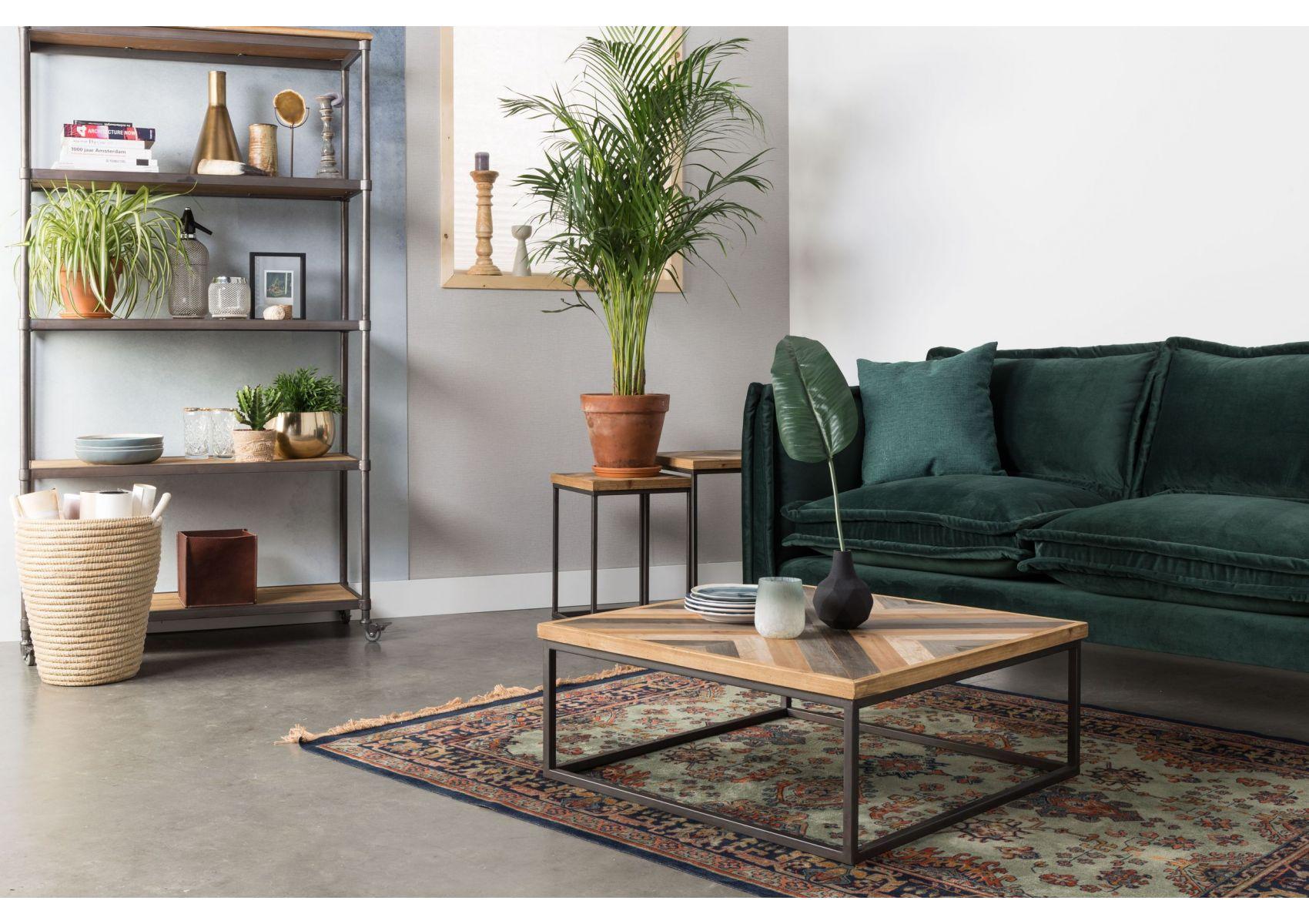 Table Basse Carrée Bois Et Metal Style Industriel Joy Boite à Design