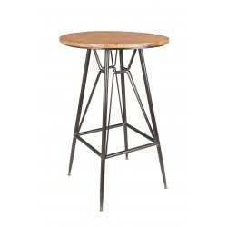Table de bar bois et métal rouillé style industriel Whiskey - Boite à design