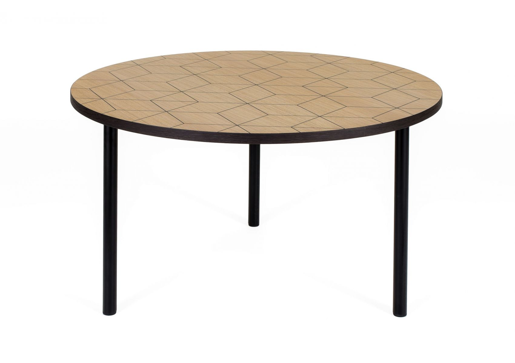 table basse ronde avec motifs g om triques arty de chez woodman. Black Bedroom Furniture Sets. Home Design Ideas