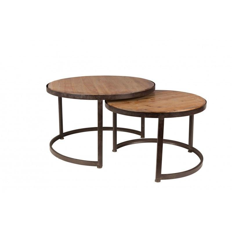 table basse gigogne ronde bois et metal. Black Bedroom Furniture Sets. Home Design Ideas