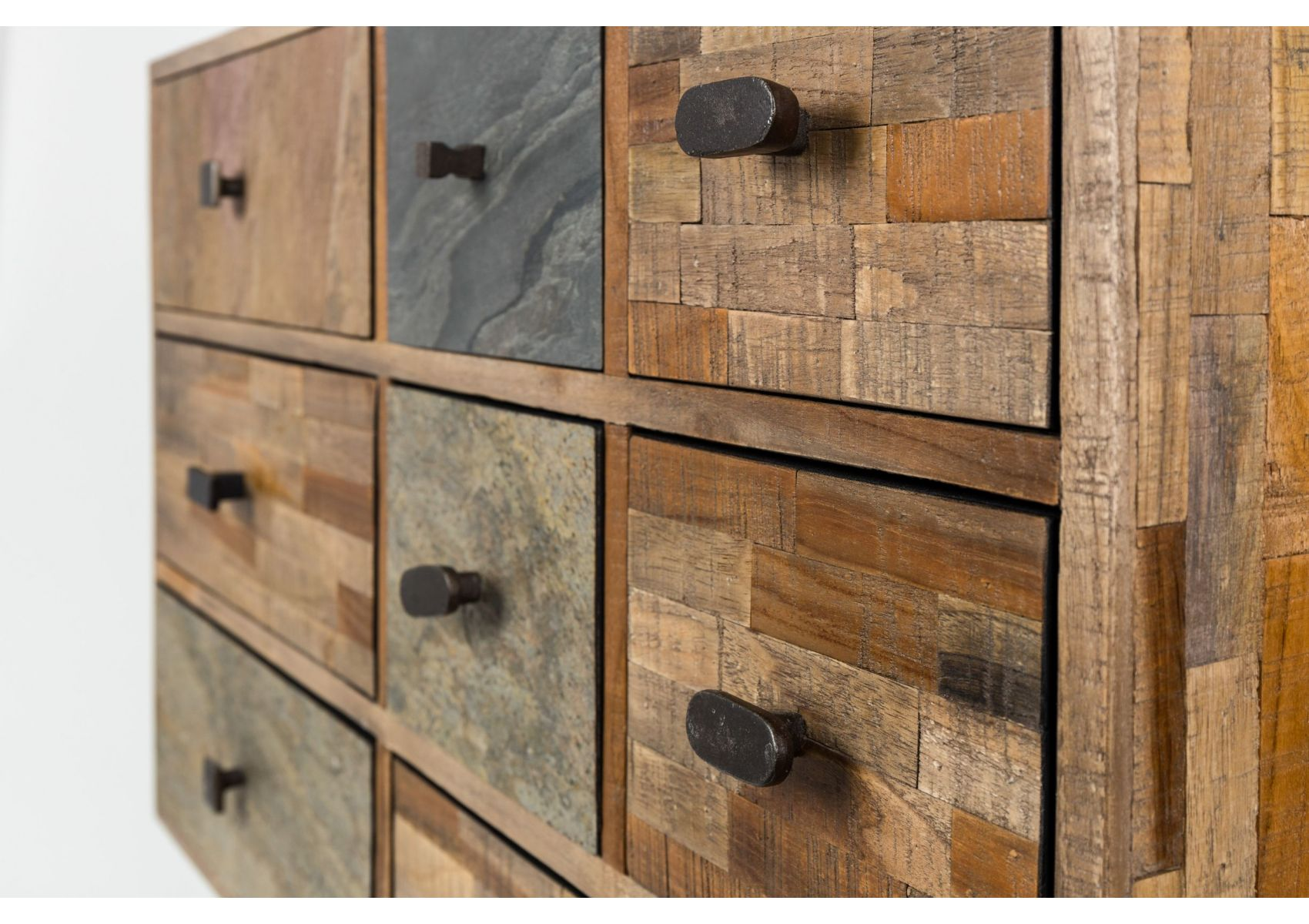 meuble de rangement tiroir en teck recycl san boite. Black Bedroom Furniture Sets. Home Design Ideas