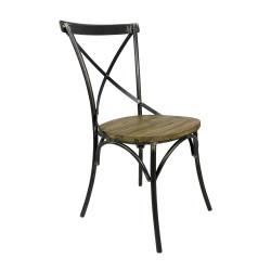 Lot de 2 chaises bistrot en métal et bois Bristol - RedCartel