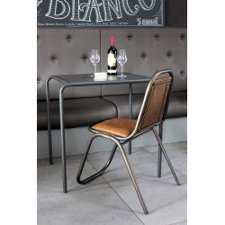 Chaise métal noir et similicuir marron industriel KRAVITZ RedCartel