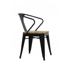 Chaise industrielle métal noir et bois brut SPLIT RedCartel