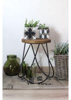 Tabouret table d'appoint en bois et métal industriel DISCO RedCartel
