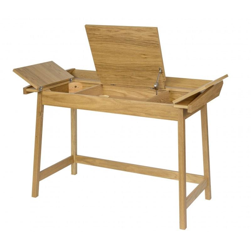 Bureau en bois à rabats avec rangements Baron - Woodman