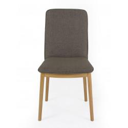 Chaise Adra marron avec pieds chêne