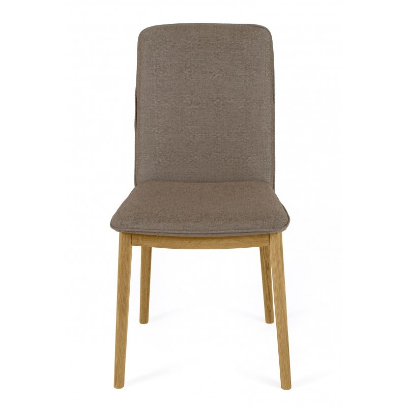 Chaise Adra taupe avec pied en chêne