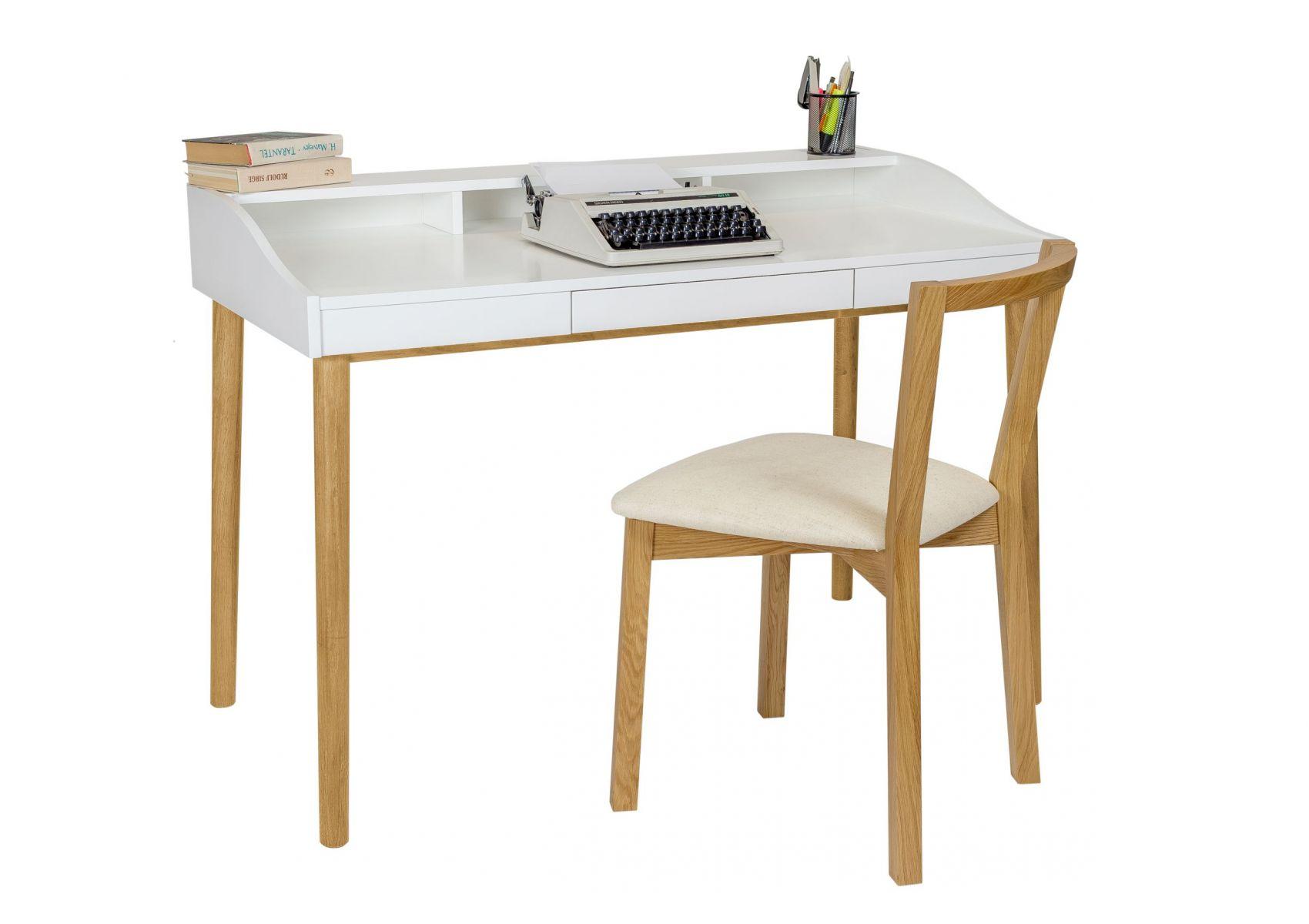 Bureau scandinave en bois de chêne et blanc lindenhof de chez woodman