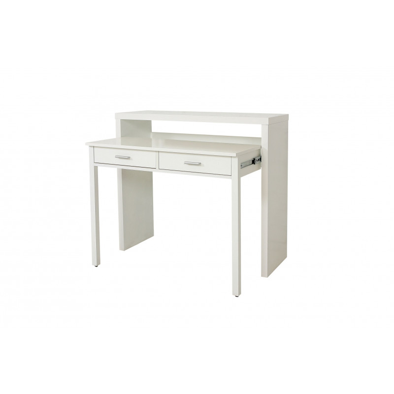 console extensible en bureau de couleur blanche nine de chez woodman. Black Bedroom Furniture Sets. Home Design Ideas