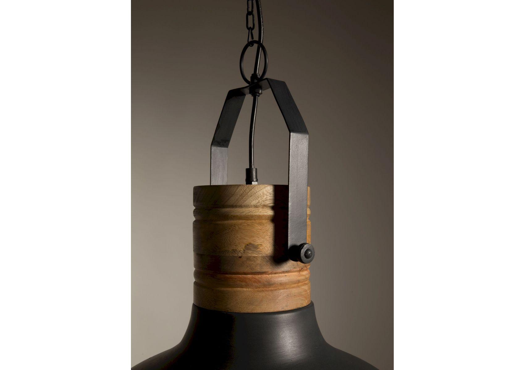 suspension industrielle m tal noir et bois raw dutchbone. Black Bedroom Furniture Sets. Home Design Ideas