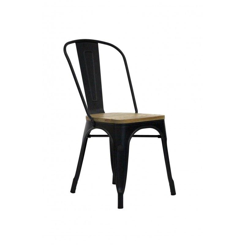 Chaise industrielle métal noir et bois TUCKER RedCartel - Lot de 2