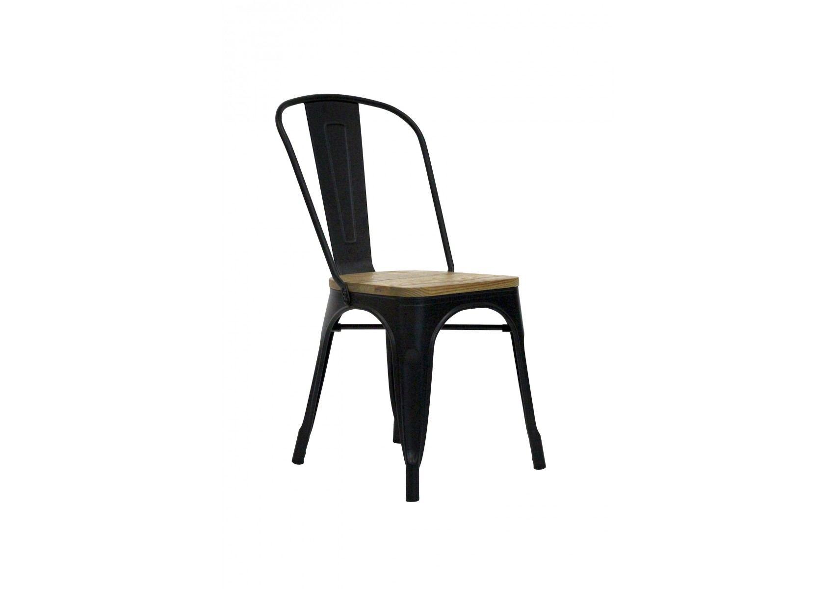 chaise industrielle m tal noir et bois tucker redcartel. Black Bedroom Furniture Sets. Home Design Ideas