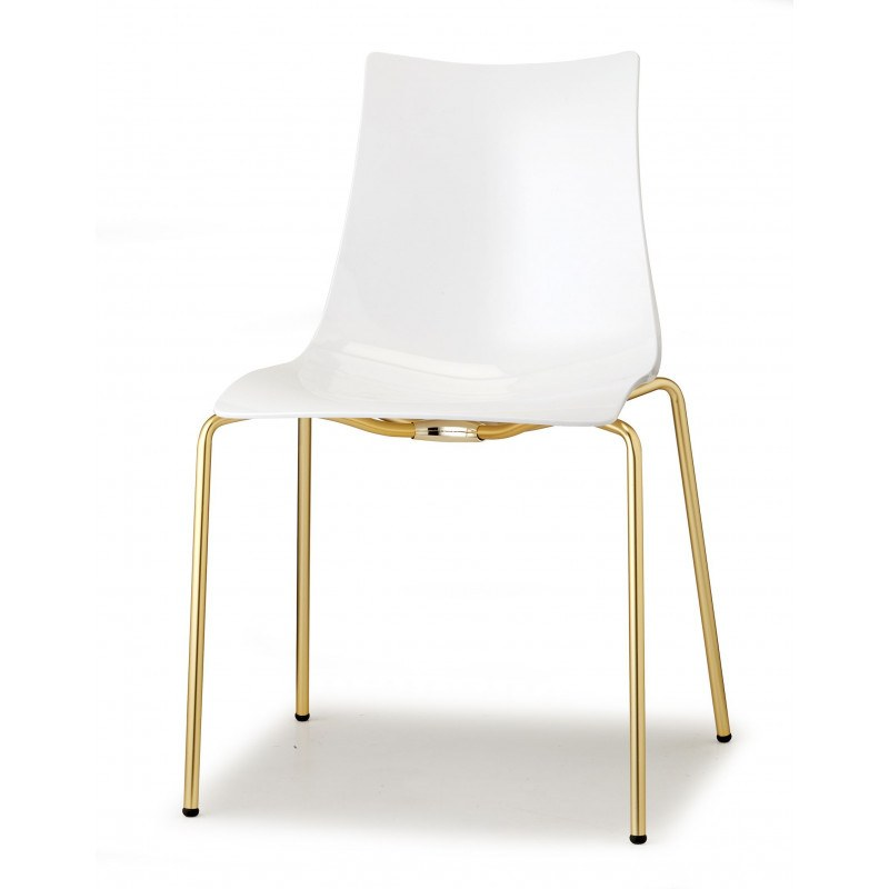 Chaise Design Blanche Pieds Laiton Zebra