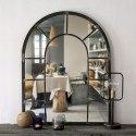 Miroir mural RIVOLI imitation verrière arrondie Métal naturel rouille