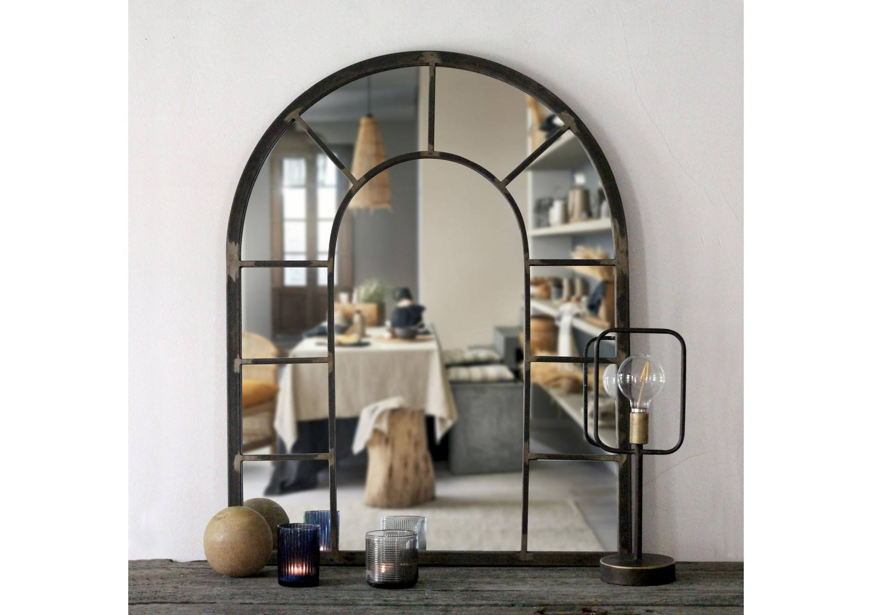 miroir mural rivoli imitation verri re m tal naturel. Black Bedroom Furniture Sets. Home Design Ideas