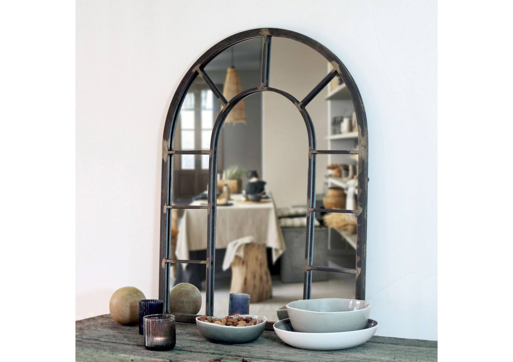 miroir mural rivoli imitation verri re m tal naturel. Black Bedroom Furniture Sets. Home Design Ideas