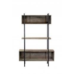 Etagère industrielle Shelter métal noir et bois grisé
