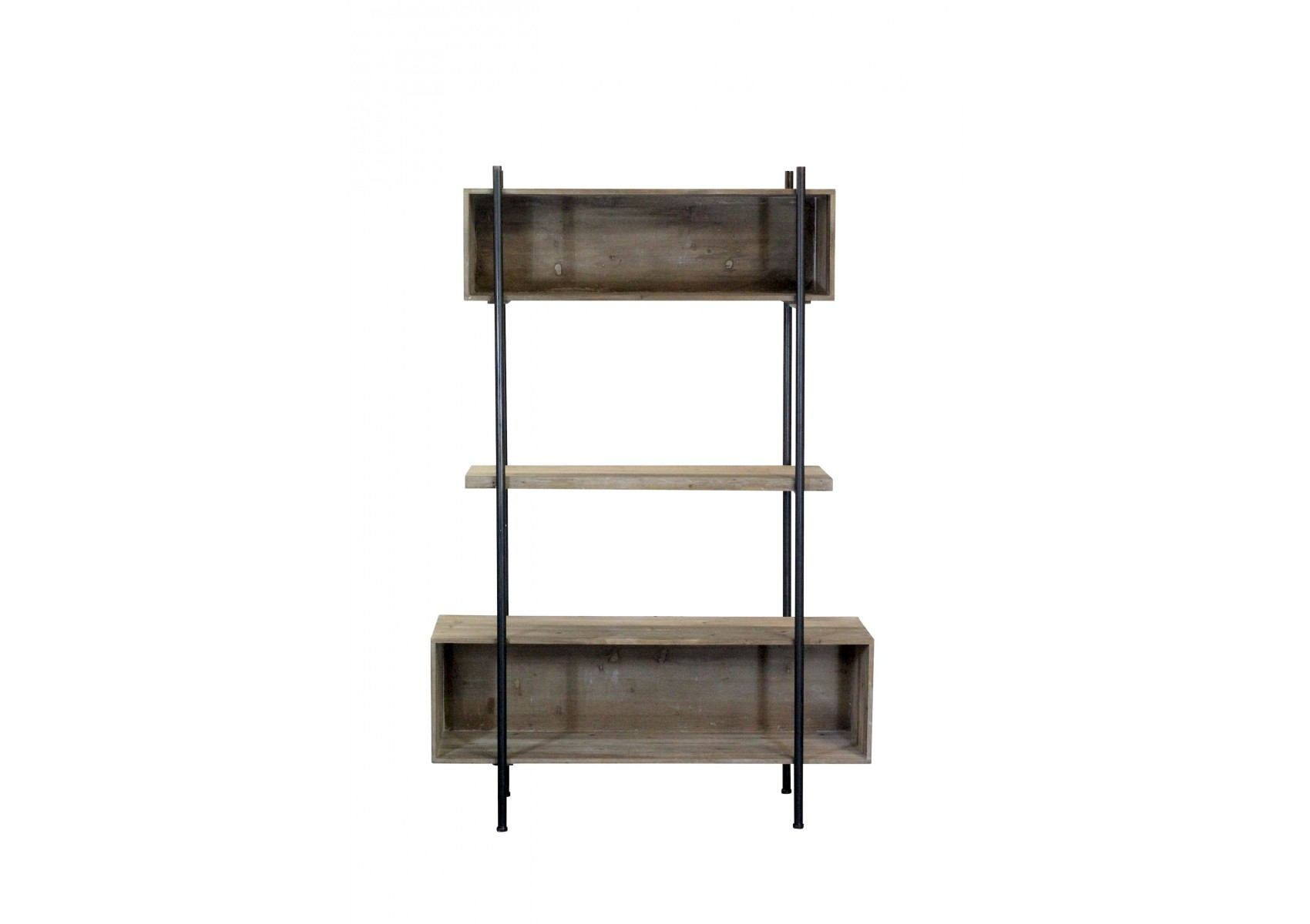 etag re industrielle shelter m tal noir et bois gris. Black Bedroom Furniture Sets. Home Design Ideas