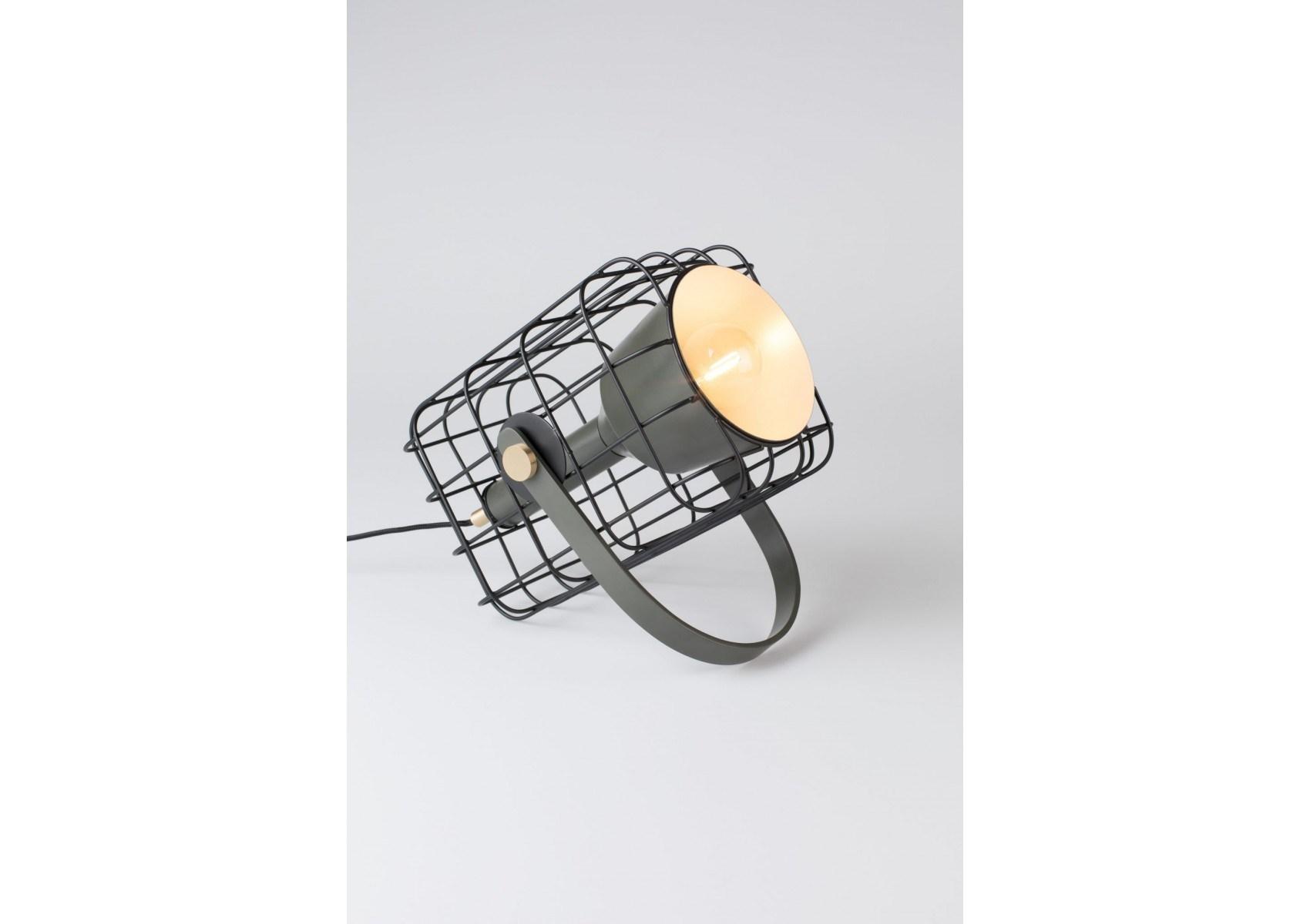 lampe poser industriel en m tal cage boite a design. Black Bedroom Furniture Sets. Home Design Ideas
