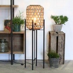Lampe de sol BALI Rotin naturel et métal noir mat