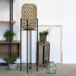 lampadaire 137 cm BALI Rotin naturel et métal noir mat