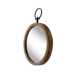Miroir rond déco en bois naturel Flint 50 cm