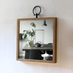 Miroir Glory carré en bois naturel